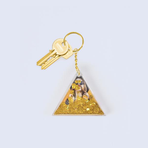 Llavero Aqua Gold Glitter