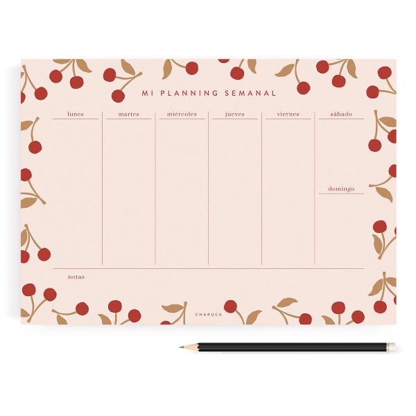 Planificador Semanal Cerezas Rosa